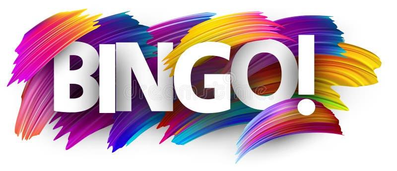 与五颜六色的刷子冲程的宾果游戏标志 皇族释放例证