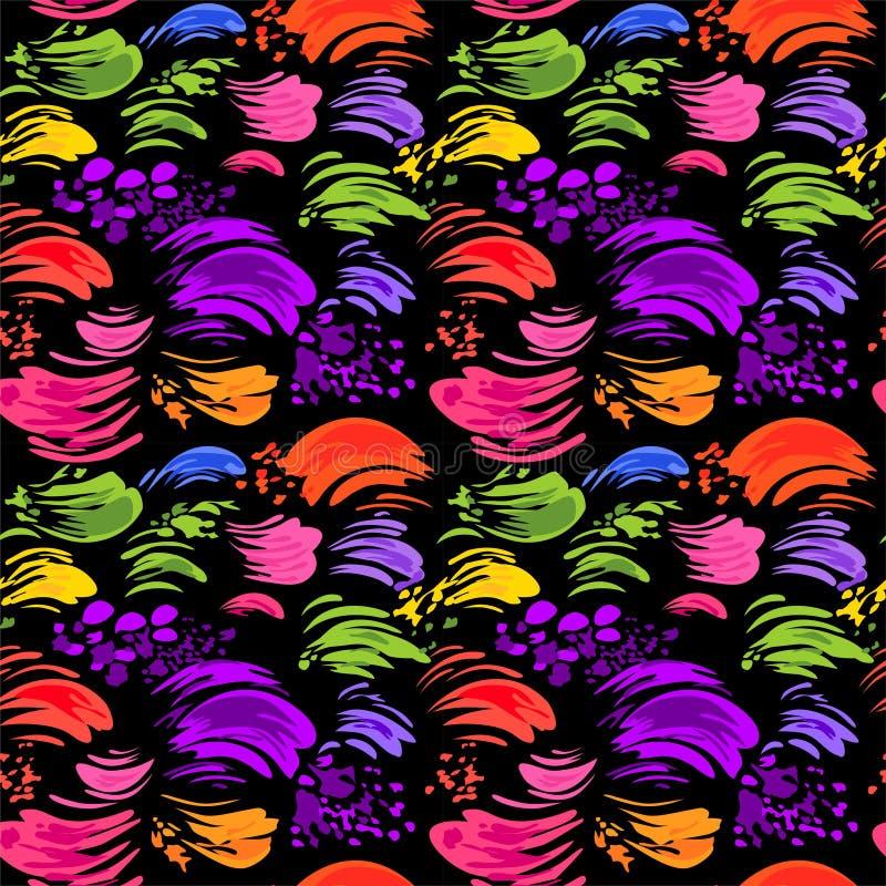 与五颜六色的刷子冲程的抽象无缝的黑墙纸 向量例证