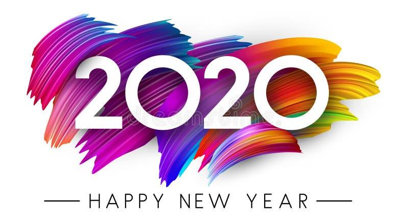 与五颜六色的刷子冲程设计的新年快乐2020卡片 皇族释放例证