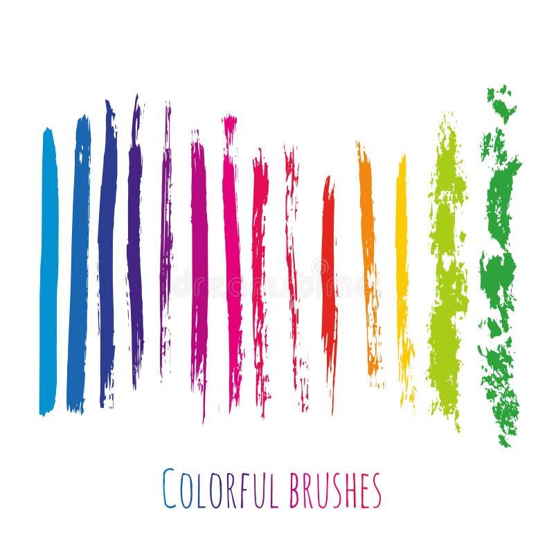 与五颜六色的刷子的传染媒介汇集抚摸元素 彩虹被设置的油漆斑点 皇族释放例证