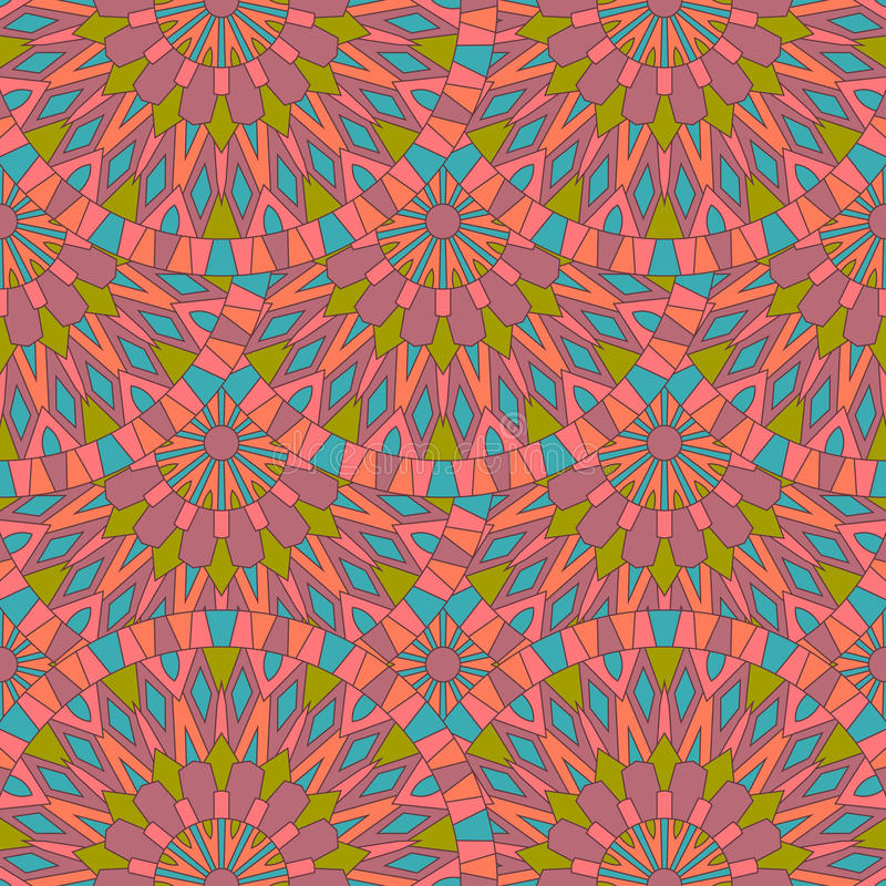 与五颜六色的古老坛场的无缝的表面样式 能使用 向量例证
