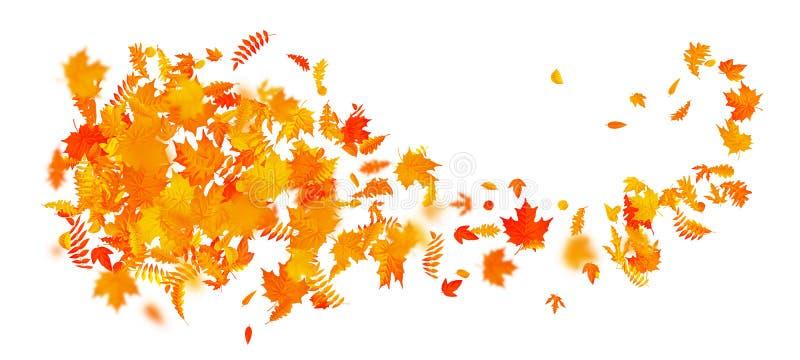 与五颜六色的叶子的抽象秋天横幅模板 10 eps 向量例证