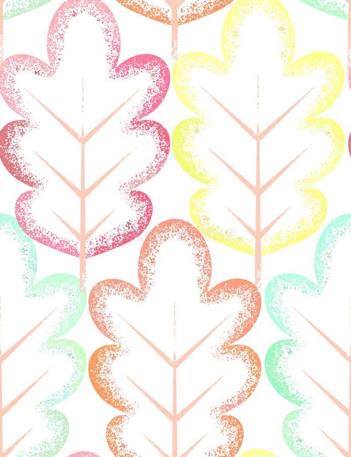 与五颜六色的叶子的无缝的模式 皇族释放例证