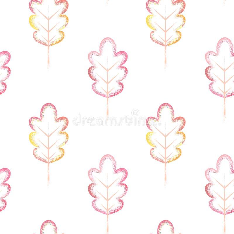 与五颜六色的叶子的无缝的模式 向量例证