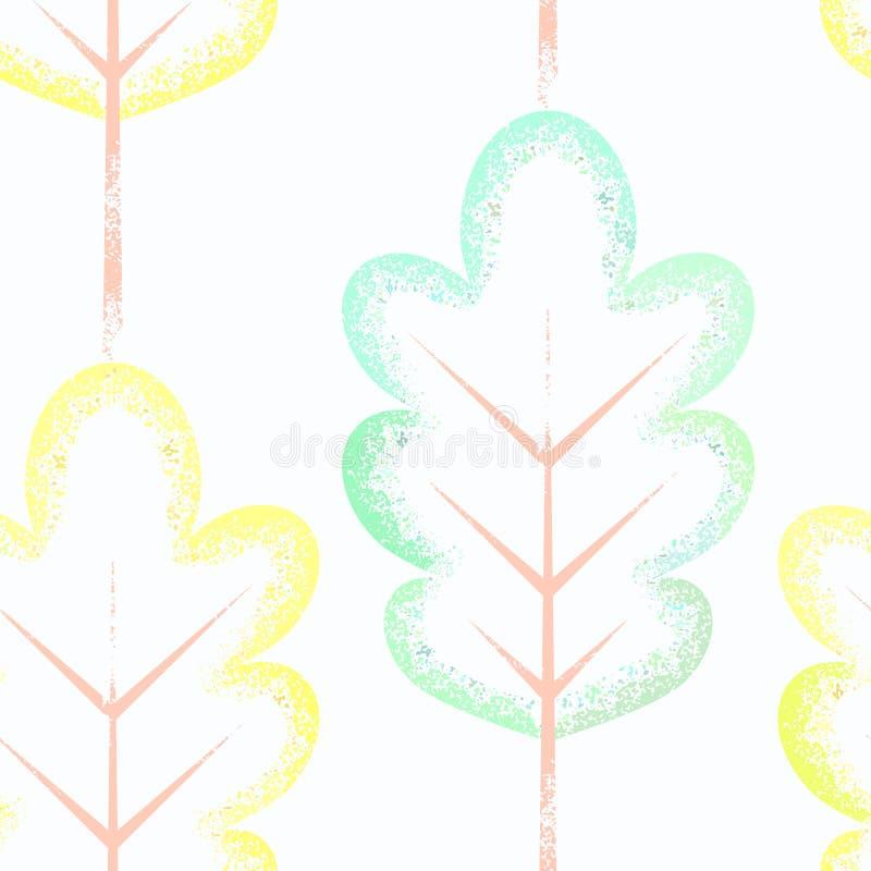 与五颜六色的叶子的无缝的模式 库存例证