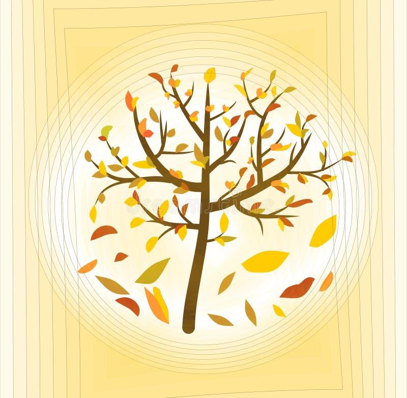 与五颜六色的叶子的树在淡黄的抽象背景,美好的秋天题材 向量例证