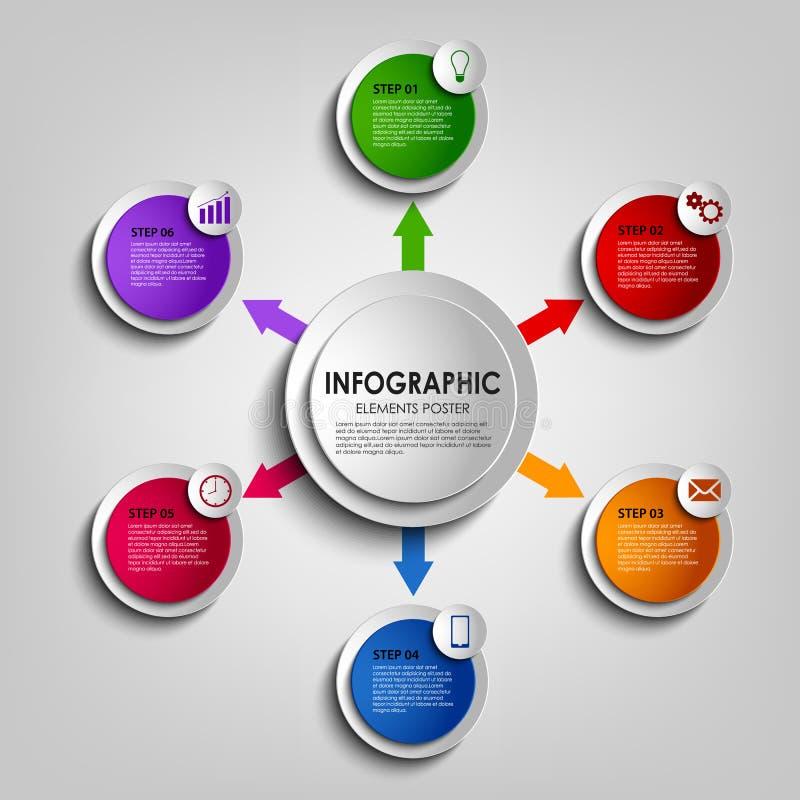 与五颜六色的圆的设计显示模板的信息图表 向量例证