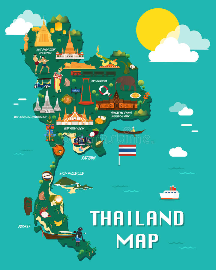 与五颜六色的地标例证设计的泰国地图 向量例证