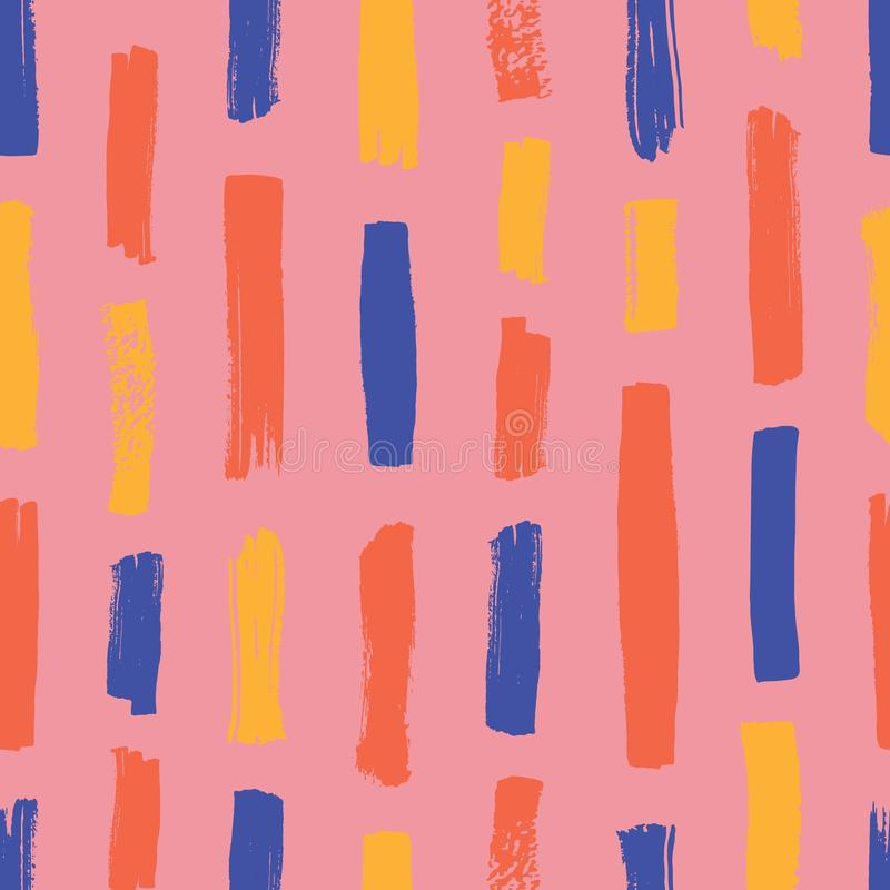 与五颜六色的垂直条纹的抽象无缝的样式在桃红色背景 与刷子冲程的手画背景 库存例证