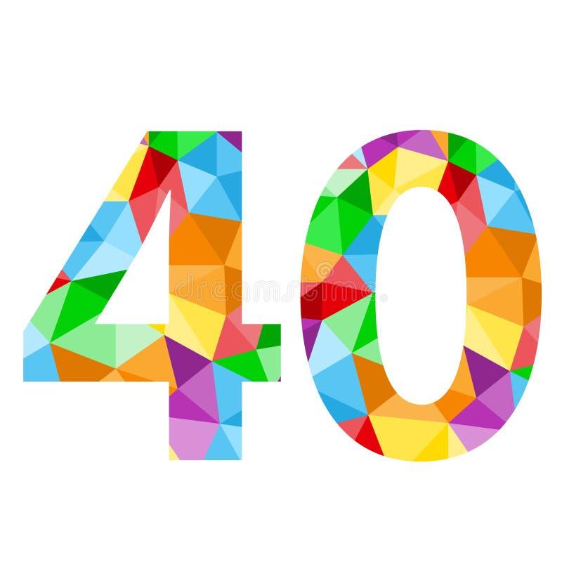 与五颜六色的多角形样式的第40象 向量例证