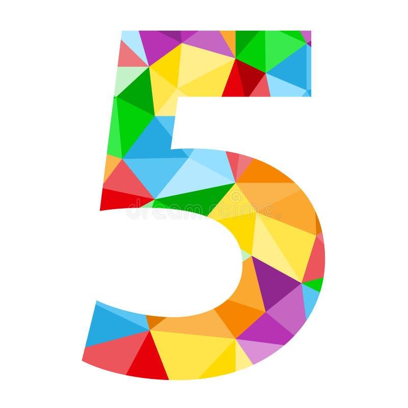 与五颜六色的多角形样式的第5象 向量例证