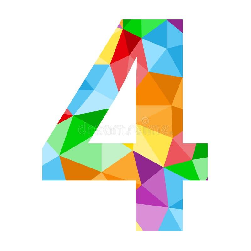 与五颜六色的多角形样式的第4象 向量例证