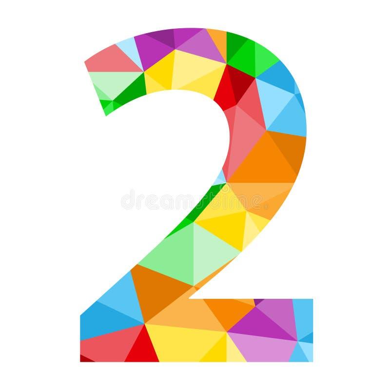 与五颜六色的多角形样式的第2象 库存例证