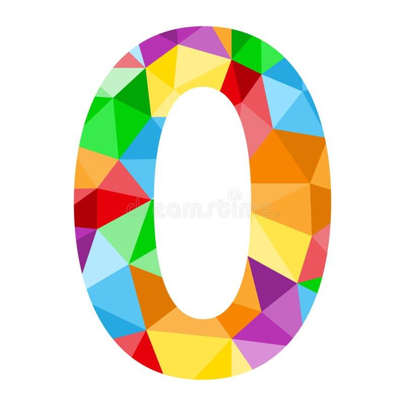 与五颜六色的多角形样式的第0象 向量例证