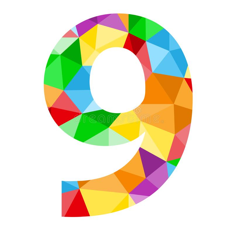 与五颜六色的多角形样式的第9象 库存例证