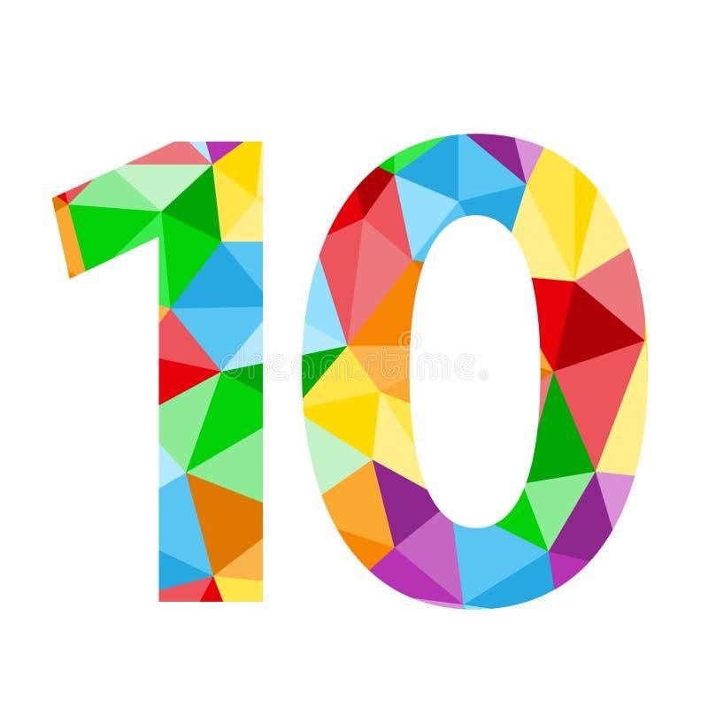 与五颜六色的多角形样式的第10象 皇族释放例证