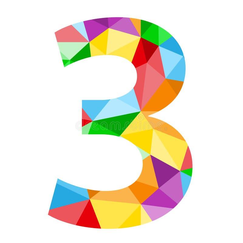 与五颜六色的多角形样式的第3象 向量例证