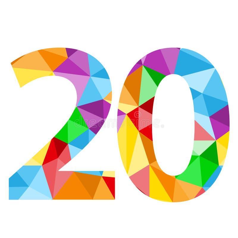 与五颜六色的多角形样式的第20象 库存例证