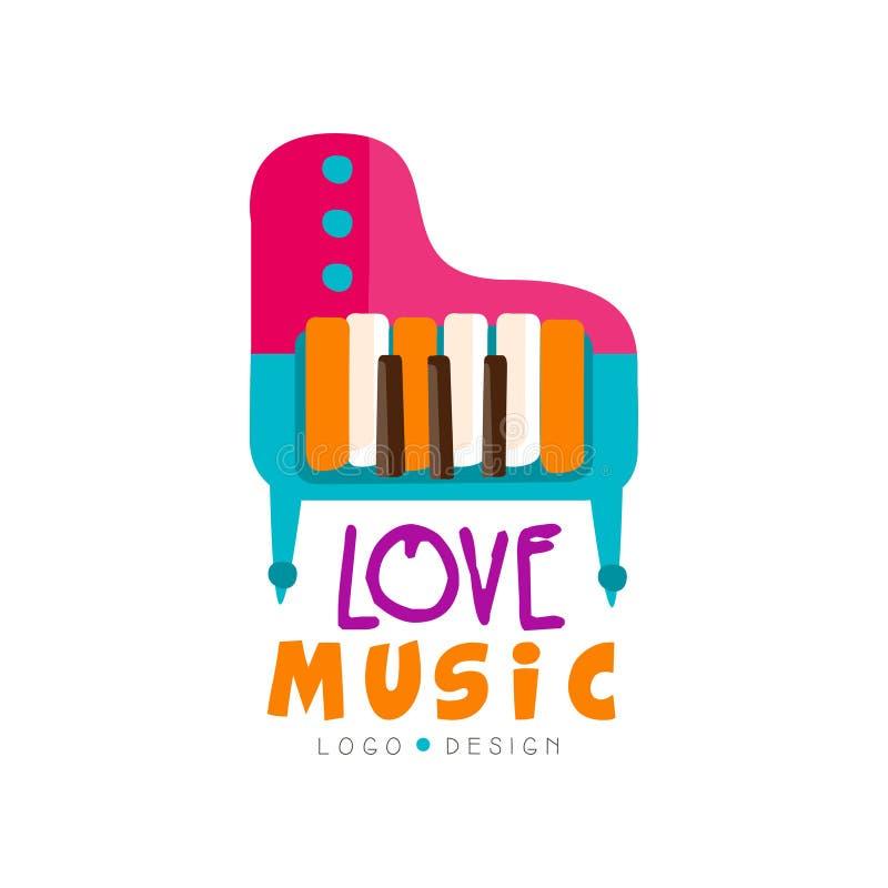 与五颜六色的大平台钢琴的音乐商标 大键盘乐器 导航商店象征的,电视节目预告海报设计或 向量例证