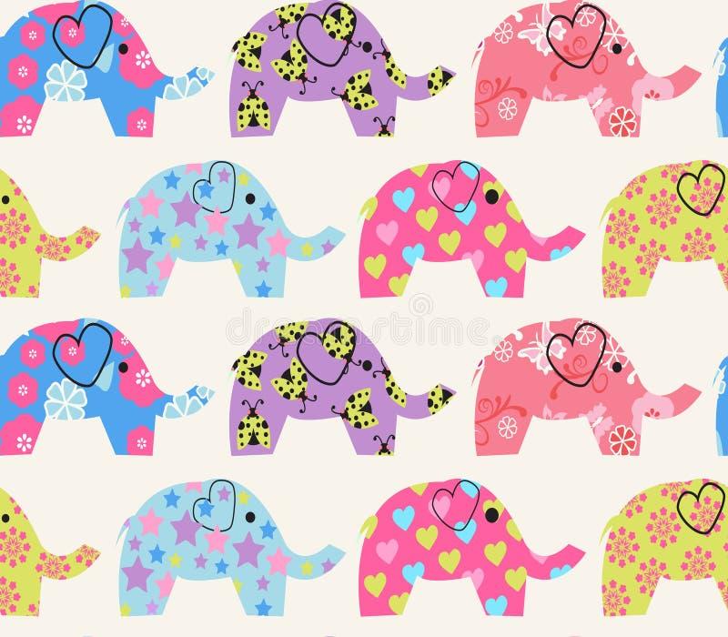 与五颜六色的大象的样式 库存例证