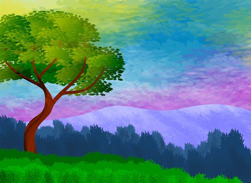 与五颜六色的天空、山和偏僻的树的风景在前景 库存例证