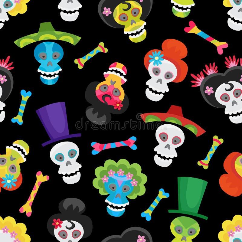 与五颜六色的头骨和骨头的无缝的样式为万圣夜 向量例证