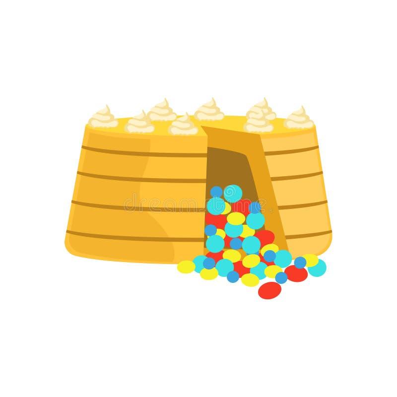 与五颜六色的巧克力糖里面的蛋糕为婚姻或生日装饰了大特殊场合党点心 皇族释放例证