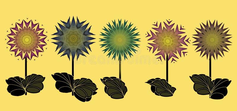 与五颜六色的幻想的边界开花数字式艺术 皇族释放例证