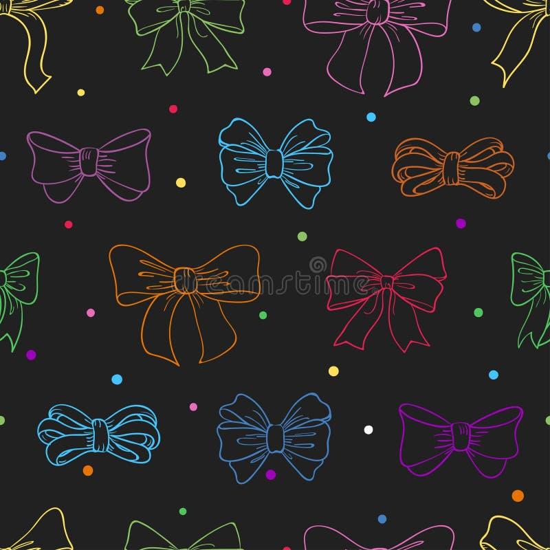 与五颜六色的弓剪影的无缝的样式在黑暗 向量例证