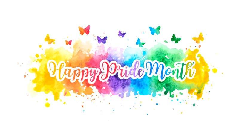 与五颜六色的彩虹水彩飞溅和蝴蝶的LGBT愉快的自豪感月横幅 ?? 库存例证