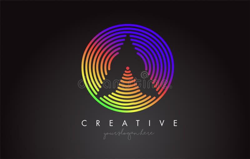 与五颜六色的彩虹环形轧材的一个信件商标设计 Vigrant圈子信件商标 向量例证