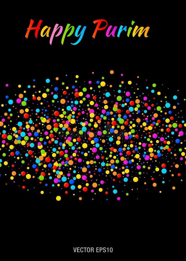 与五颜六色的彩虹的传染媒介愉快的普珥节狂欢节文本上色在黑背景的纸五彩纸屑云彩小条 向量例证