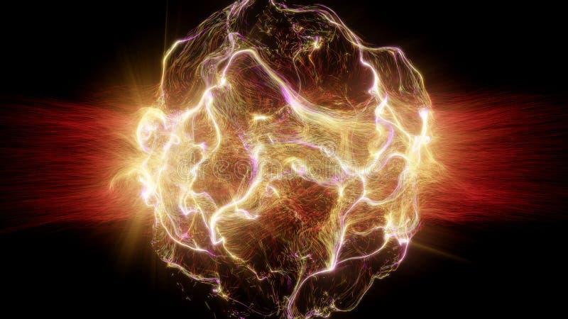 与五颜六色的微粒的抽象未来派空间爆炸 库存例证