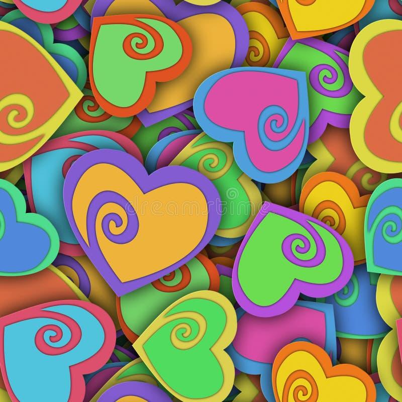 与五颜六色的心脏和阴影的抽象无缝的样式 库存例证