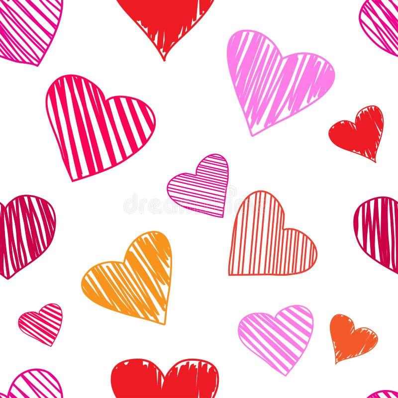 与五颜六色的心脏的无缝的样式在白色背景 r 皇族释放例证