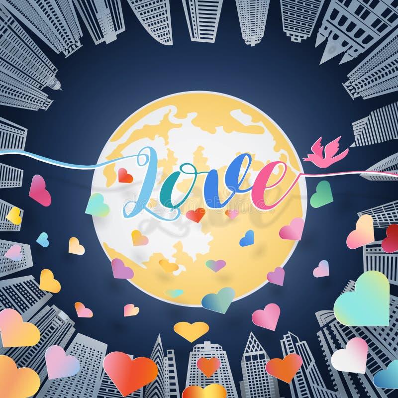 与五颜六色的心脏鸟和消散的情书与漂浮在大黄色满月和高大厦的阴影的在蓝色 向量例证