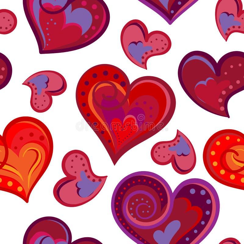 与五颜六色的手凹道心脏的浪漫无缝的样式 在白色背景的明亮的心脏 也corel凹道例证向量 库存例证