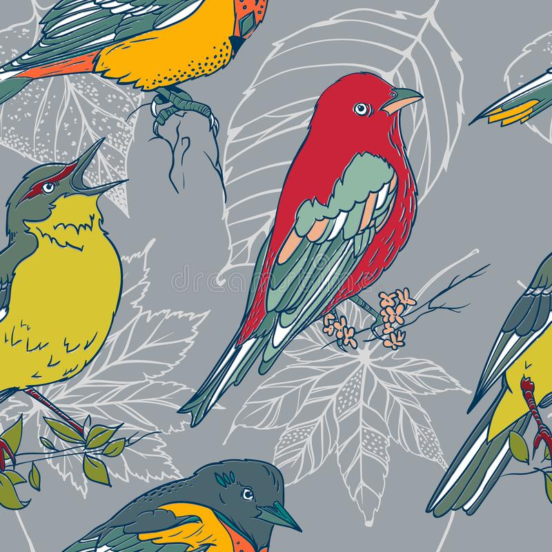 与五颜六色的手拉的鸟和叶子的无缝的样式 皇族释放例证