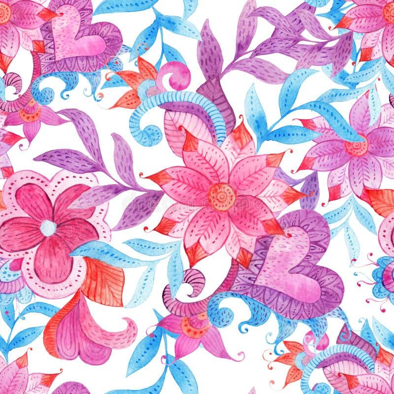 与五颜六色的手画水彩幻想的抽象无缝的花卉样式离开并且开花 皇族释放例证