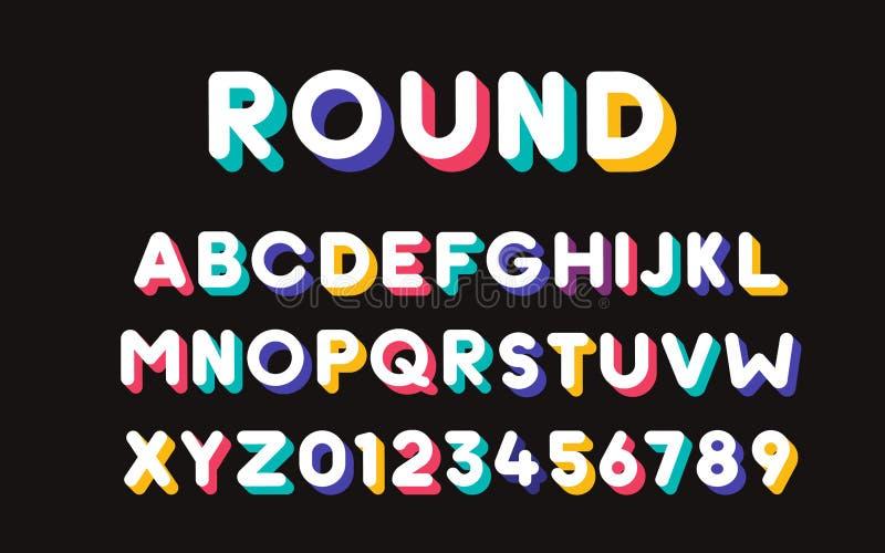 与五颜六色的时髦阴影的传染媒介现代凉快的大胆的字体 字母表和数字集合 向量例证