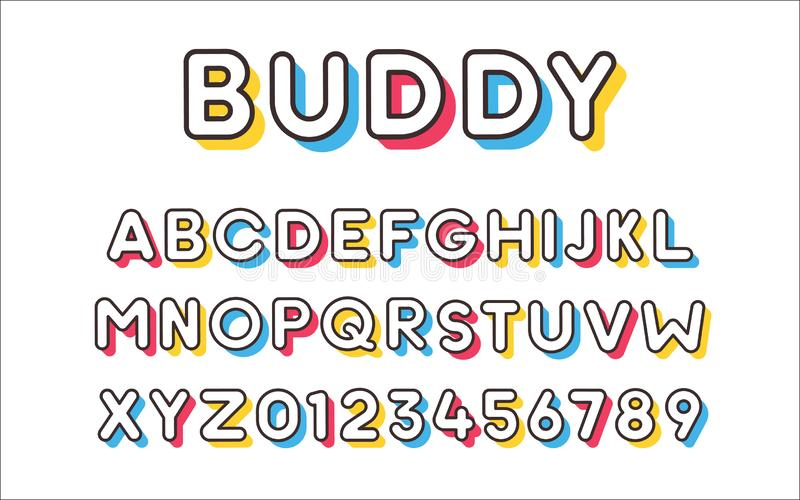 与五颜六色的时髦阴影的传染媒介现代凉快的大胆的字体 字母表和数字集合 库存例证