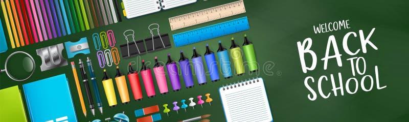 与五颜六色的明亮的教育3d现实供应的绿色校务委员会横幅背景 广告的,杂志设计,作嘘声 皇族释放例证