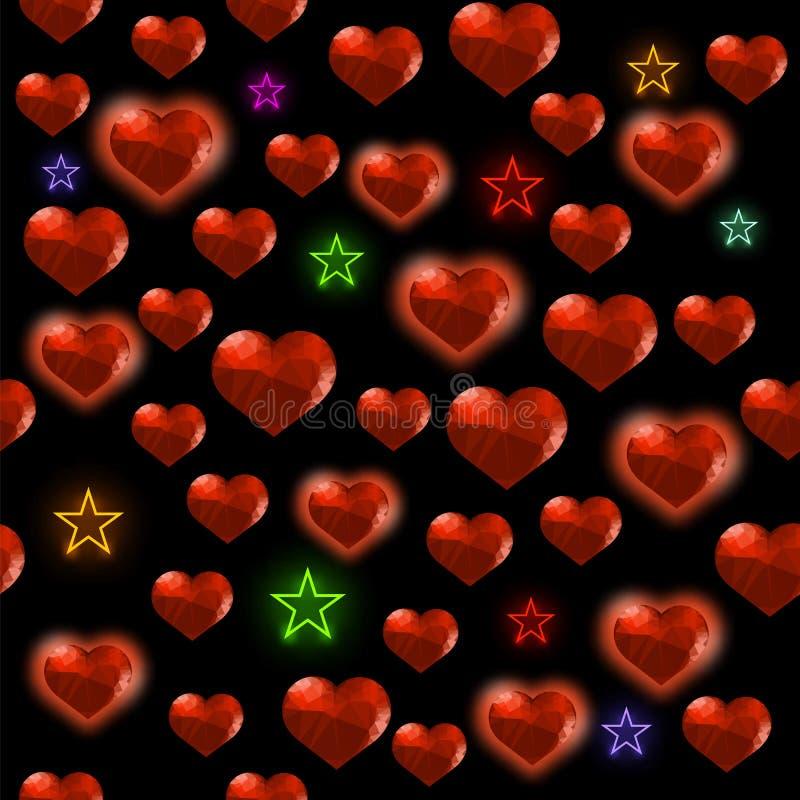 与五颜六色的星任意无缝的样式的红色多角形心脏在黑背景 皇族释放例证