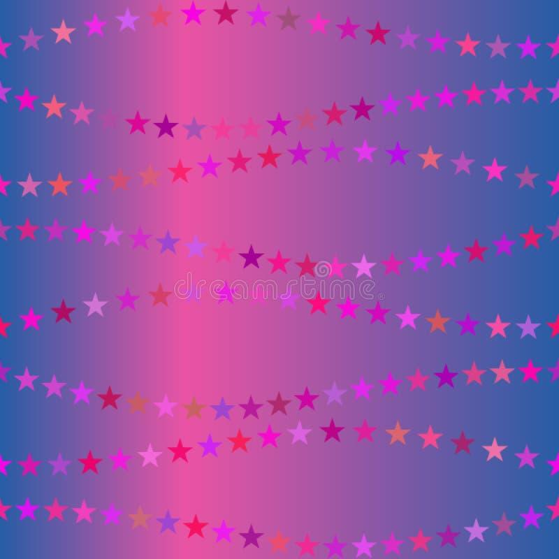 与五颜六色的星的美好的呈虹彩背景 r 礼品包装材料纸的,织品装饰品 向量例证