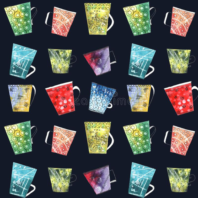 与五颜六色的杯子和杯子的手拉的无缝的样式 库存例证