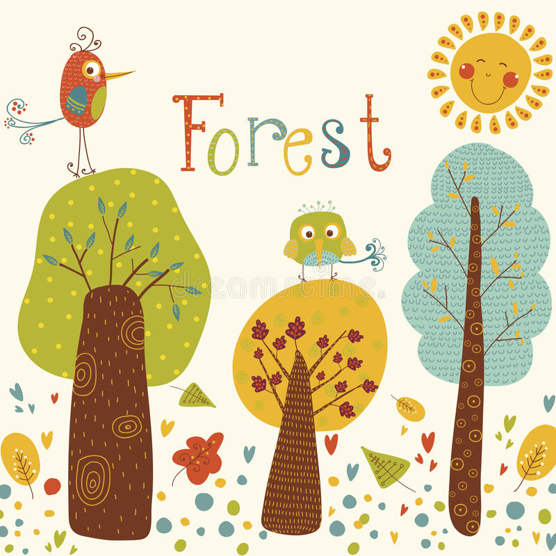 与五颜六色的树和鸟的逗人喜爱的传染媒介背景 有鸟和太阳的动画片森林 明亮的自然本底 室外浓缩 皇族释放例证