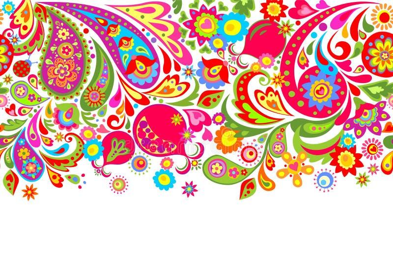 与五颜六色的样式的花卉无缝的种族边界与抽象花、佩兹利和石榴纺织品设计的 库存例证