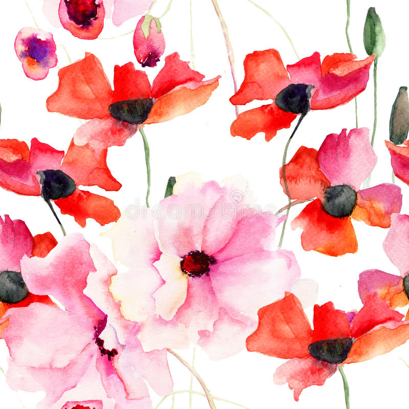 与五颜六色的桃红色花的无缝的墙纸 库存例证