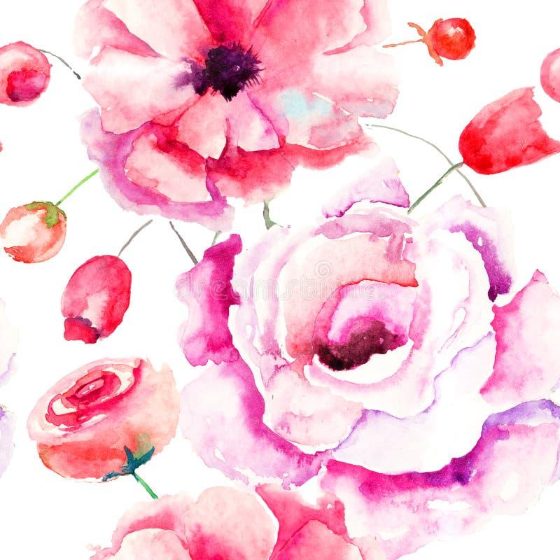 与五颜六色的桃红色花的无缝的样式 皇族释放例证