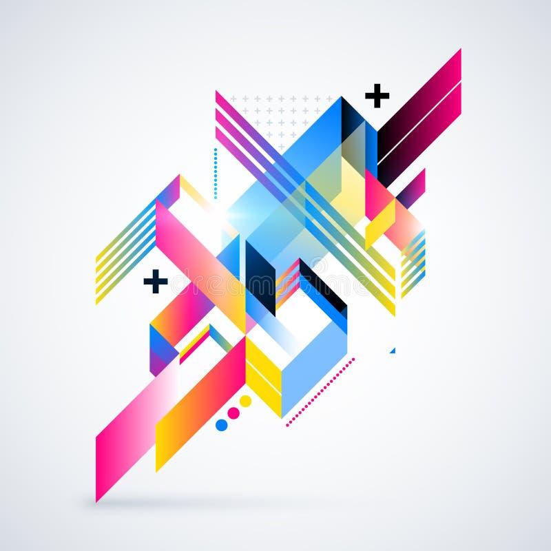 与五颜六色的梯度和发光的光的抽象几何元素 公司未来派设计,有用为介绍, adve 皇族释放例证